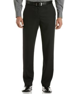 $85 Perry Ellis Flat Front Sharkskin Black Mens Dress Pants