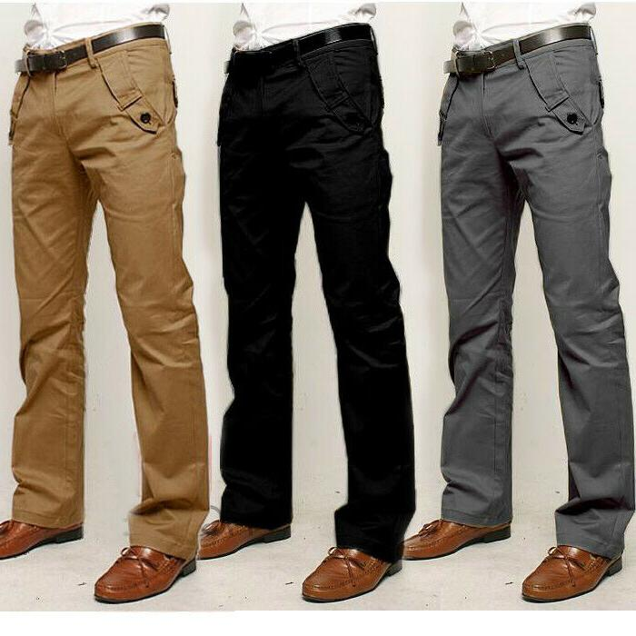 Mens Business Chinos Dress Casual Cotton Trousers