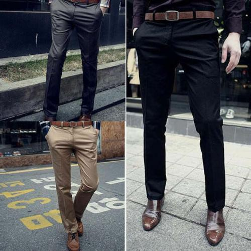 Mens Business Chinos Dress Pants Casual