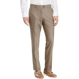 BAR III Men's Taupe Slim Fit Stretch Flat Front Dress Pants