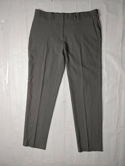 Haggar Mens Dress Pants GRAY SZ 34x30 Slim Fit Flat Front