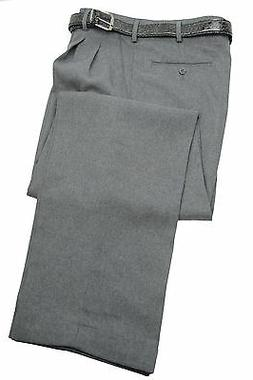 Mens Trousers Heather Gray Dress Pants Pleated Slacks W/ Bel