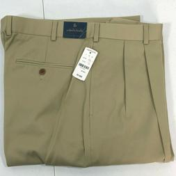NEW Brooks Brothers Mens Dress Chinos Pleat Front Cotton Pan