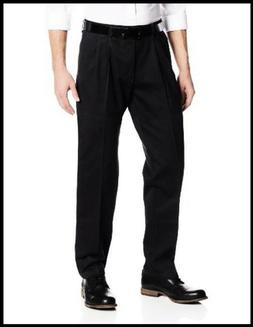 LEE RELAXED BLACK PLEATED DRESS PANTS MENS 38X32 STAIN RESIS