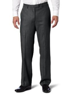 Savane Men's Sharkskin Flat Front Dress Pant, Charcoal, 42x3
